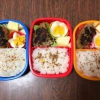 4月16日のお弁当は超手抜きなハンバーグとリンゴの弁当だったが子供に人気だったのは予想外